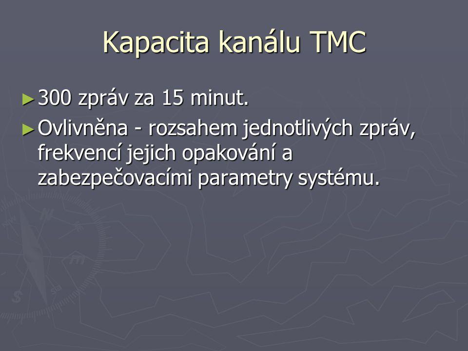 Kapacita kanálu TMC ► 300 zpráv za 15 minut. ► Ovlivněna - rozsahem jednotlivých zpráv, frekvencí jejich opakování a zabezpečovacími parametry systému