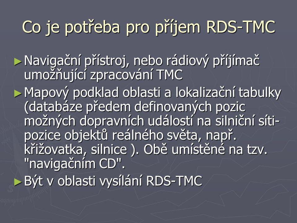 Co je potřeba pro příjem RDS-TMC ► Navigační přístroj, nebo rádiový příjímač umožňující zpracování TMC ► Mapový podklad oblasti a lokalizační tabulky