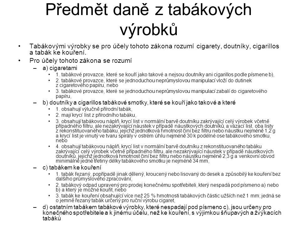 Předmět daně z tabákových výrobků Tabákovými výrobky se pro účely tohoto zákona rozumí cigarety, doutníky, cigarillos a tabák ke kouření. Pro účely to