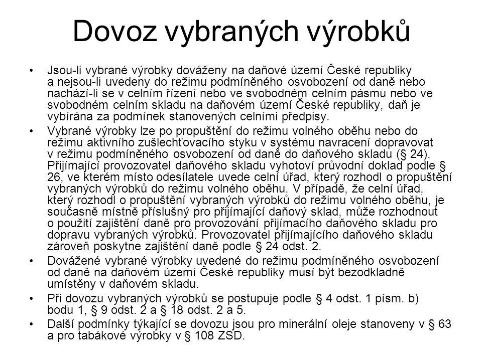 Dovoz vybraných výrobků Jsou-li vybrané výrobky dováženy na daňové území České republiky a nejsou-li uvedeny do režimu podmíněného osvobození od daně