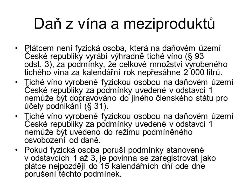 Daň z vína a meziproduktů Plátcem není fyzická osoba, která na daňovém území České republiky vyrábí výhradně tiché víno (§ 93 odst. 3), za podmínky, ž