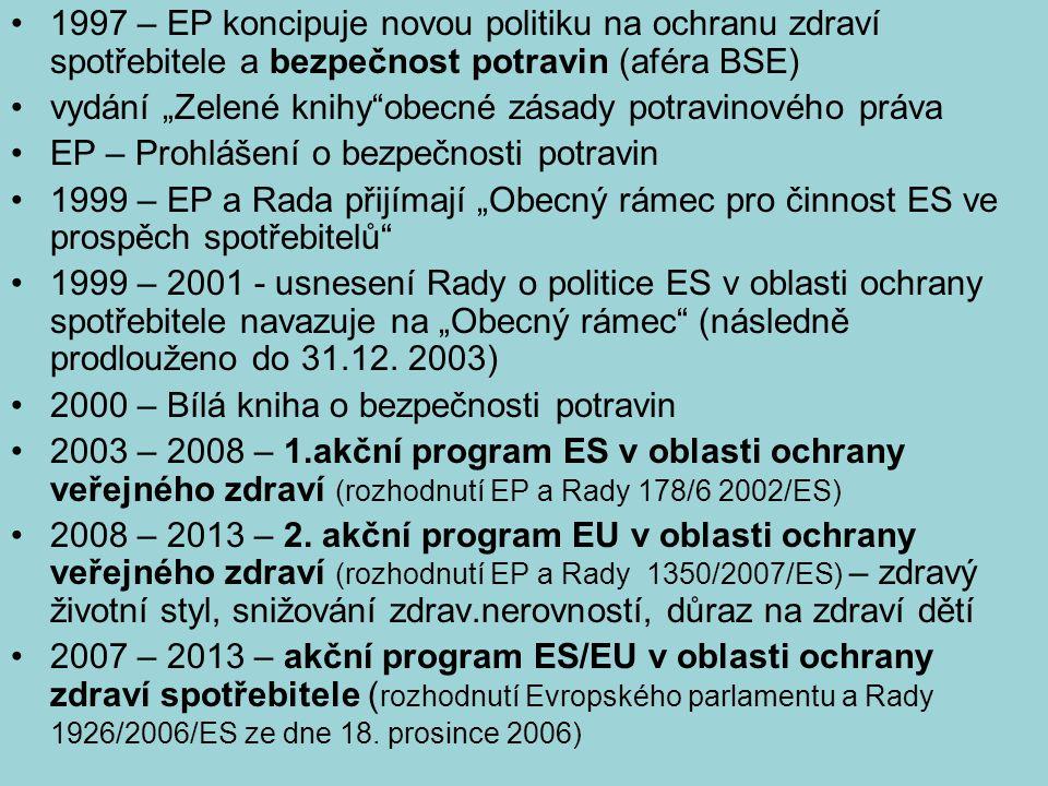 """1997 – EP koncipuje novou politiku na ochranu zdraví spotřebitele a bezpečnost potravin (aféra BSE) vydání """"Zelené knihy""""obecné zásady potravinového p"""