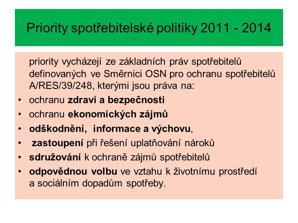 Priority spotřebitelské politiky 2011 - 2014 priority vycházejí ze základních práv spotřebitelů definovaných ve Směrnici OSN pro ochranu spotřebitelů