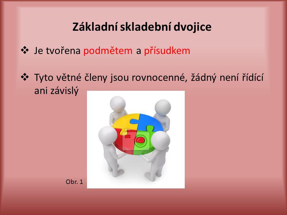 Základní skladební dvojice  Je tvořena podmětem a přísudkem  Tyto větné členy jsou rovnocenné, žádný není řídící ani závislý Obr.