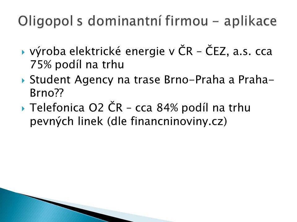 Oligopol s dominantní firmou Q P ∑MC=S KO MR D DTDT MC QTQT QDQD Q KO P1P1 P2P2 PDPD Dominantní firma bude dodávat množství, při kterém se rovnají jej