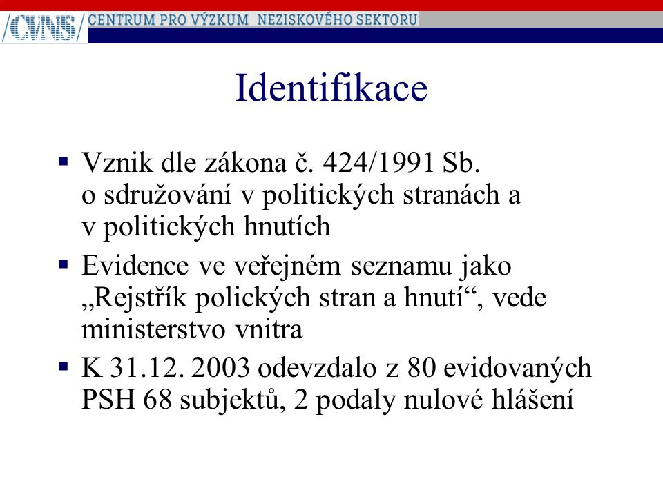 """Identifikace  Vznik dle zákona č. 424/1991 Sb. o sdružování v politických stranách a v politických hnutích  Evidence ve veřejném seznamu jako """"Rejst"""