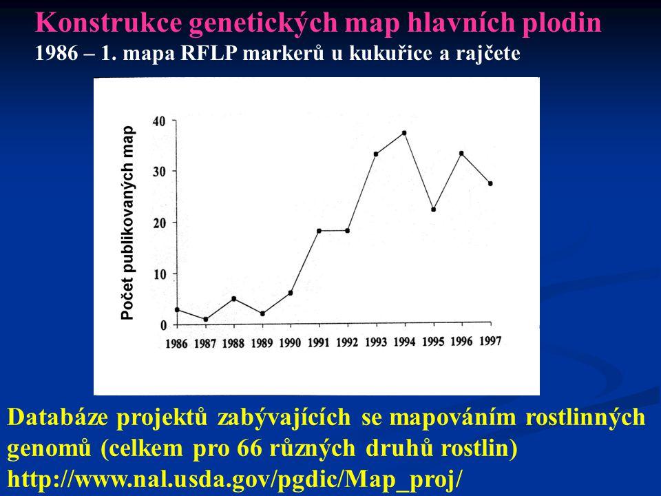 3. Genetické mapování 1. Konstrukce genetických map určitého druhu 2. Identifikace nových DNA markerů - - Vytváření nástrojů pro MAS (marker- assisted