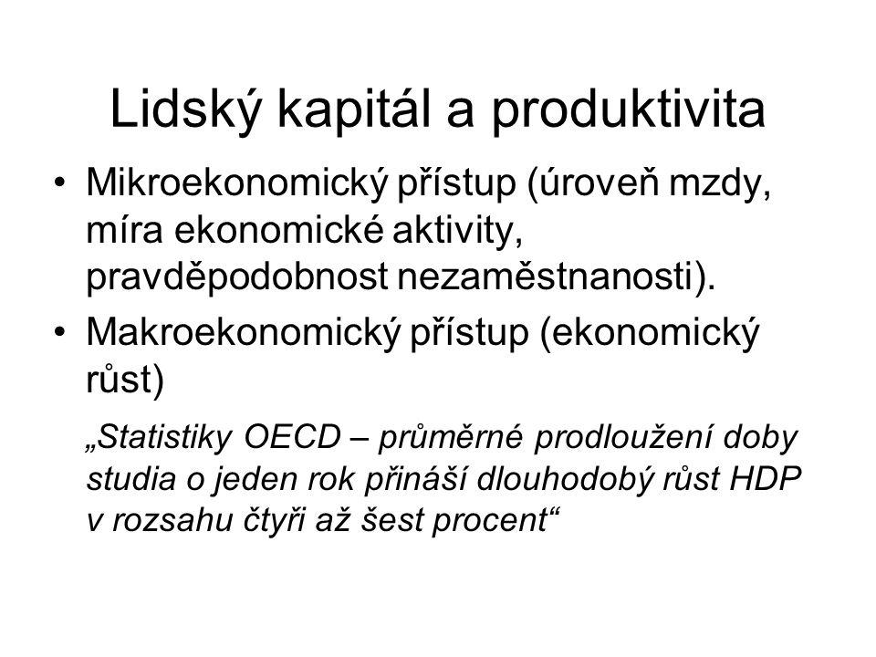 Lidský kapitál a produktivita Mikroekonomický přístup (úroveň mzdy, míra ekonomické aktivity, pravděpodobnost nezaměstnanosti). Makroekonomický přístu
