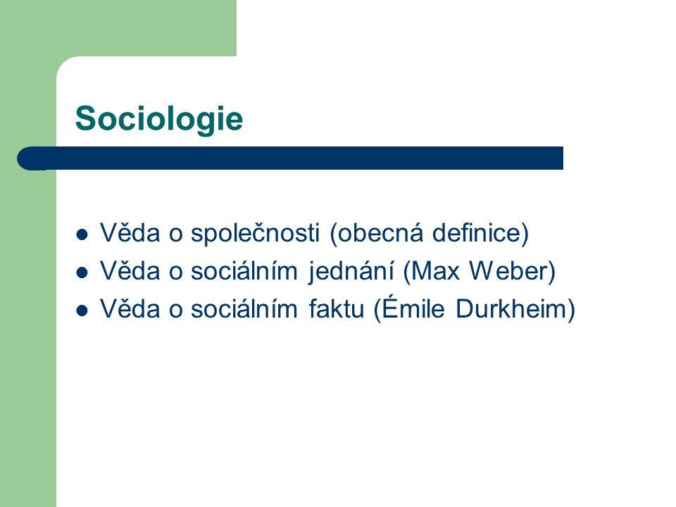 Věda o společnosti (obecná definice) Věda o sociálním jednání (Max Weber) Věda o sociálním faktu (Émile Durkheim)