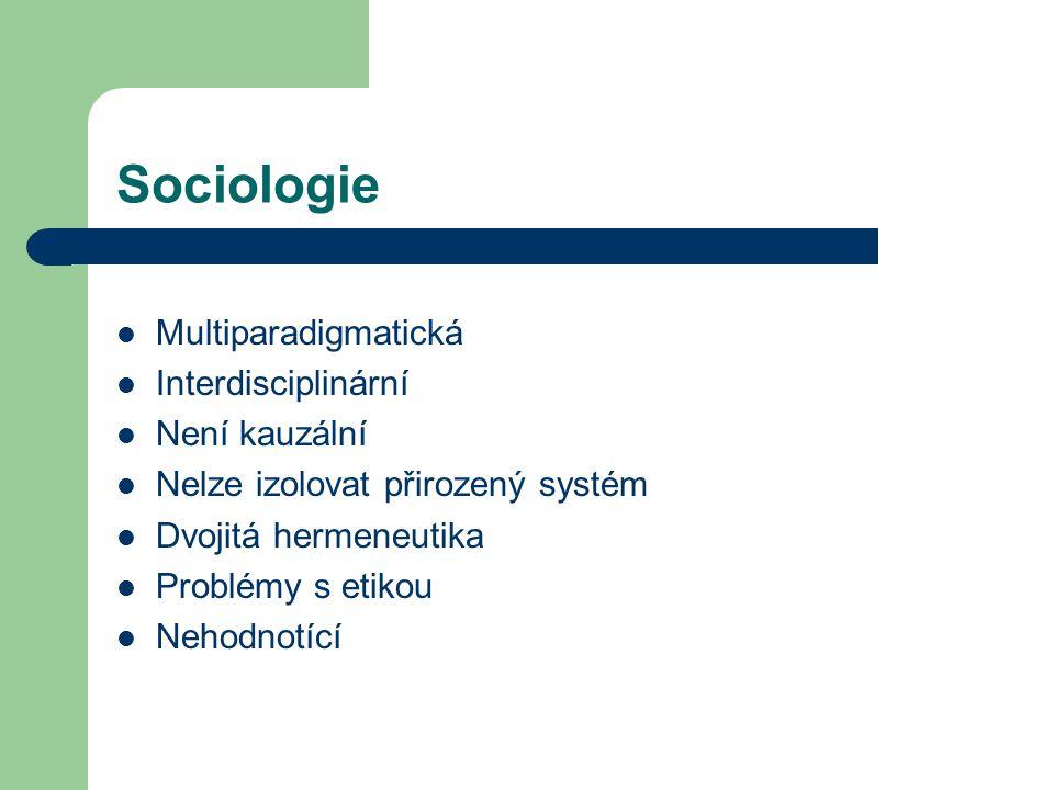 Sociologie Multiparadigmatická Interdisciplinární Není kauzální Nelze izolovat přirozený systém Dvojitá hermeneutika Problémy s etikou Nehodnotící