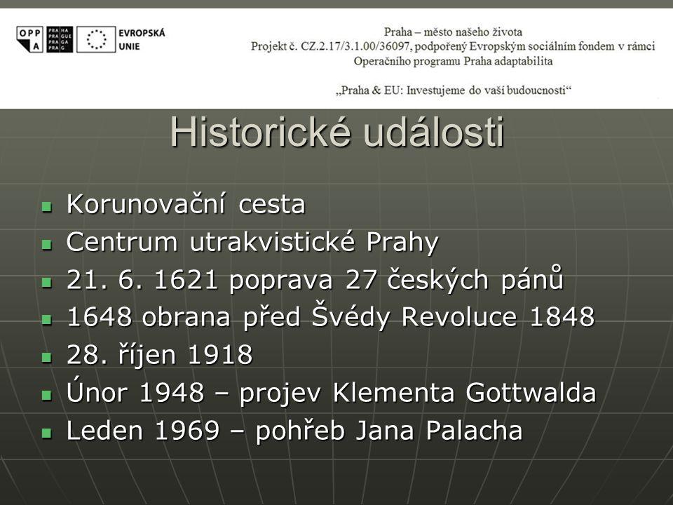 Historické události Korunovační cesta Korunovační cesta Centrum utrakvistické Prahy Centrum utrakvistické Prahy 21.