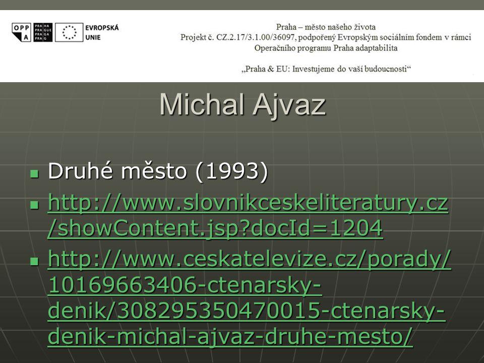 Michal Ajvaz Druhé město (1993) Druhé město (1993) http://www.slovnikceskeliteratury.cz /showContent.jsp docId=1204 http://www.slovnikceskeliteratury.cz /showContent.jsp docId=1204 http://www.slovnikceskeliteratury.cz /showContent.jsp docId=1204 http://www.slovnikceskeliteratury.cz /showContent.jsp docId=1204 http://www.ceskatelevize.cz/porady/ 10169663406-ctenarsky- denik/308295350470015-ctenarsky- denik-michal-ajvaz-druhe-mesto/ http://www.ceskatelevize.cz/porady/ 10169663406-ctenarsky- denik/308295350470015-ctenarsky- denik-michal-ajvaz-druhe-mesto/ http://www.ceskatelevize.cz/porady/ 10169663406-ctenarsky- denik/308295350470015-ctenarsky- denik-michal-ajvaz-druhe-mesto/ http://www.ceskatelevize.cz/porady/ 10169663406-ctenarsky- denik/308295350470015-ctenarsky- denik-michal-ajvaz-druhe-mesto/