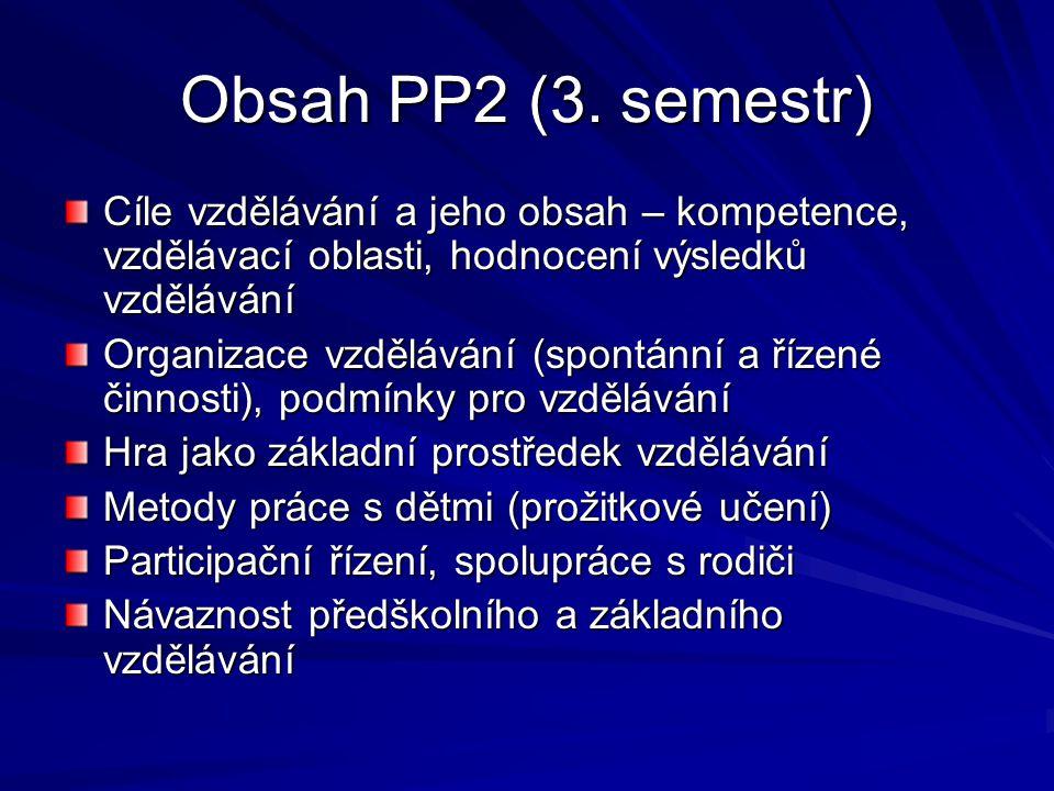 Obsah PP2 (3. semestr) Cíle vzdělávání a jeho obsah – kompetence, vzdělávací oblasti, hodnocení výsledků vzdělávání Organizace vzdělávání (spontánní a