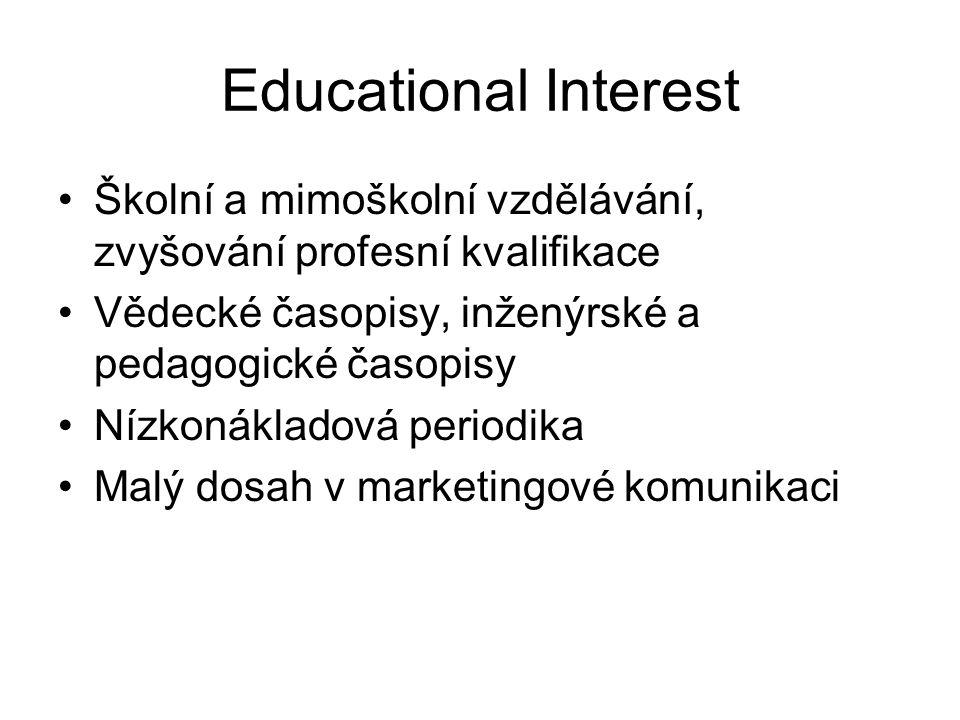 Educational Interest Školní a mimoškolní vzdělávání, zvyšování profesní kvalifikace Vědecké časopisy, inženýrské a pedagogické časopisy Nízkonákladová periodika Malý dosah v marketingové komunikaci