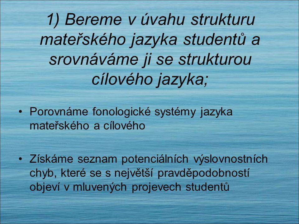 Obecné zásady pro výuku výslovnosti 1)Bereme v úvahu strukturu mateřského jazyka studentů a srovnáváme ji se strukturou cílového jazyka; 2) Klademe dů