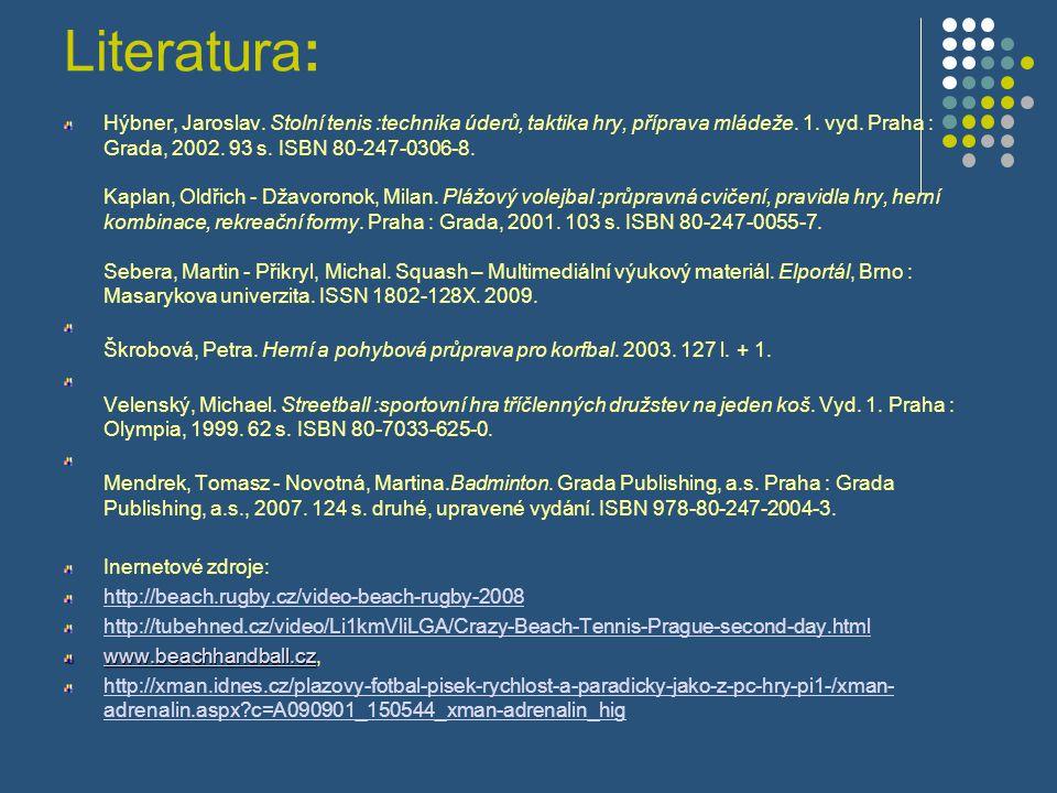 Literatura: Hýbner, Jaroslav. Stolní tenis :technika úderů, taktika hry, příprava mládeže. 1. vyd. Praha : Grada, 2002. 93 s. ISBN 80-247-0306-8. Kapl
