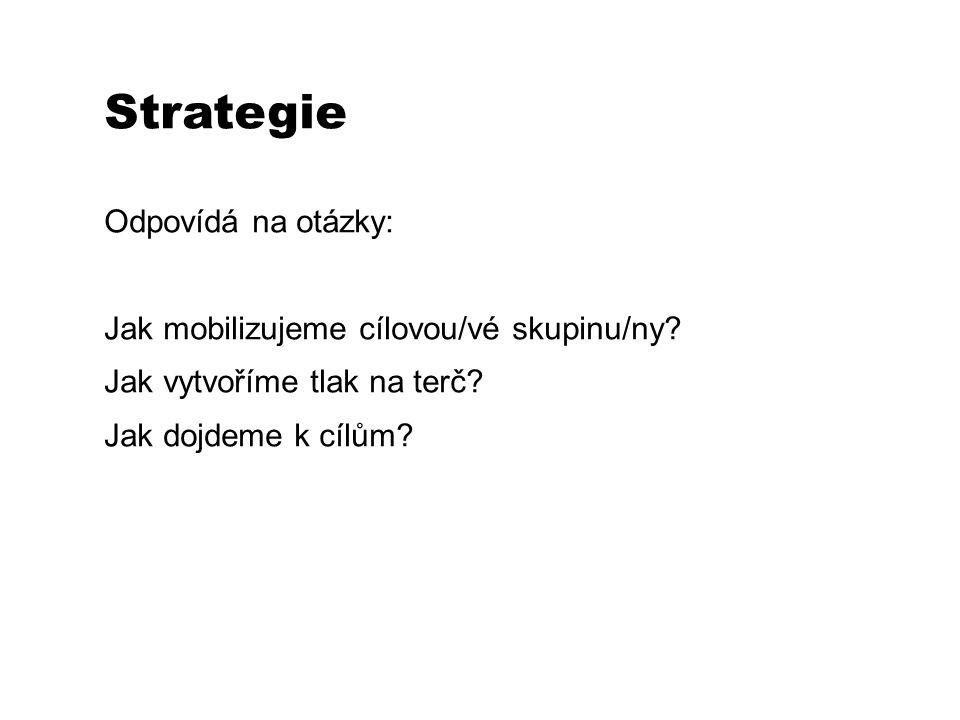 Strategie Odpovídá na otázky: Jak mobilizujeme cílovou/vé skupinu/ny.