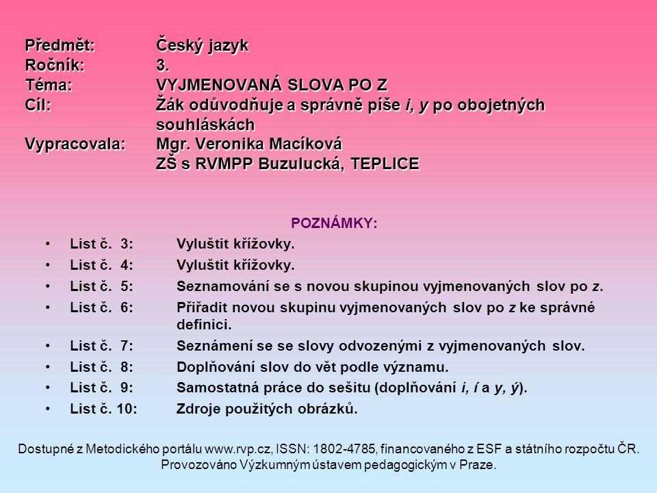 Předmět:Český jazyk Ročník:3.