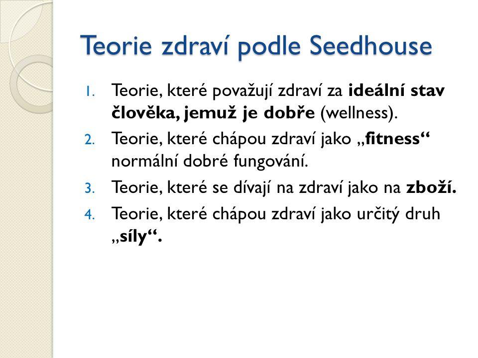 Teorie zdraví podle Seedhouse 1. Teorie, které považují zdraví za ideální stav člověka, jemuž je dobře (wellness). 2. Teorie, které chápou zdraví jako