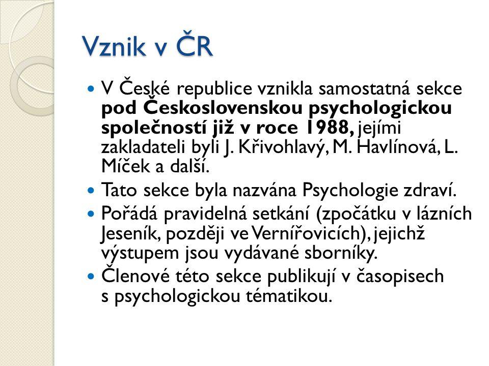 Vznik v ČR V České republice vznikla samostatná sekce pod Československou psychologickou společností již v roce 1988, jejími zakladateli byli J. Křivo