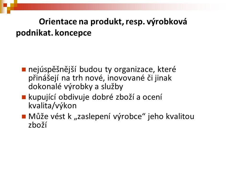 Orientace na produkt, resp. výrobková podnikat. koncepce nejúspěšnější budou ty organizace, které přinášejí na trh nové, inovované či jinak dokonalé v
