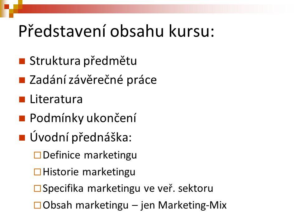 Představení obsahu kursu: Struktura předmětu Zadání závěrečné práce Literatura Podmínky ukončení Úvodní přednáška:  Definice marketingu  Historie ma