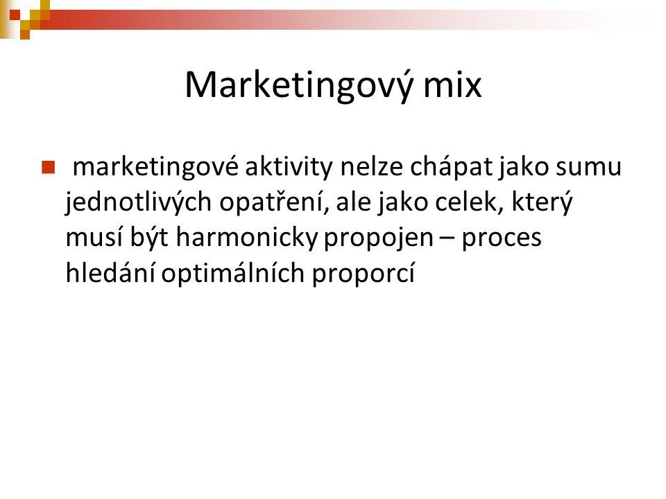 Marketingový mix marketingové aktivity nelze chápat jako sumu jednotlivých opatření, ale jako celek, který musí být harmonicky propojen – proces hledá
