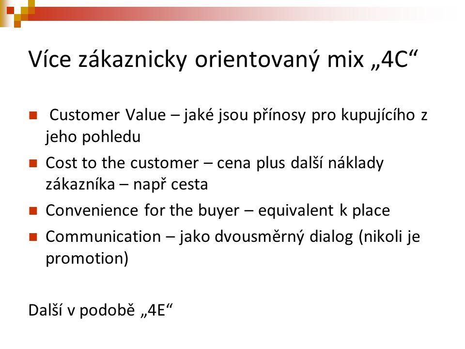 """Více zákaznicky orientovaný mix """"4C"""" Customer Value – jaké jsou přínosy pro kupujícího z jeho pohledu Cost to the customer – cena plus další náklady z"""