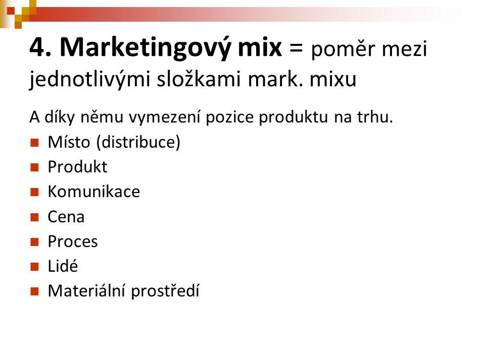 4. Marketingový mix = poměr mezi jednotlivými složkami mark. mixu A díky němu vymezení pozice produktu na trhu. Místo (distribuce) Produkt Komunikace