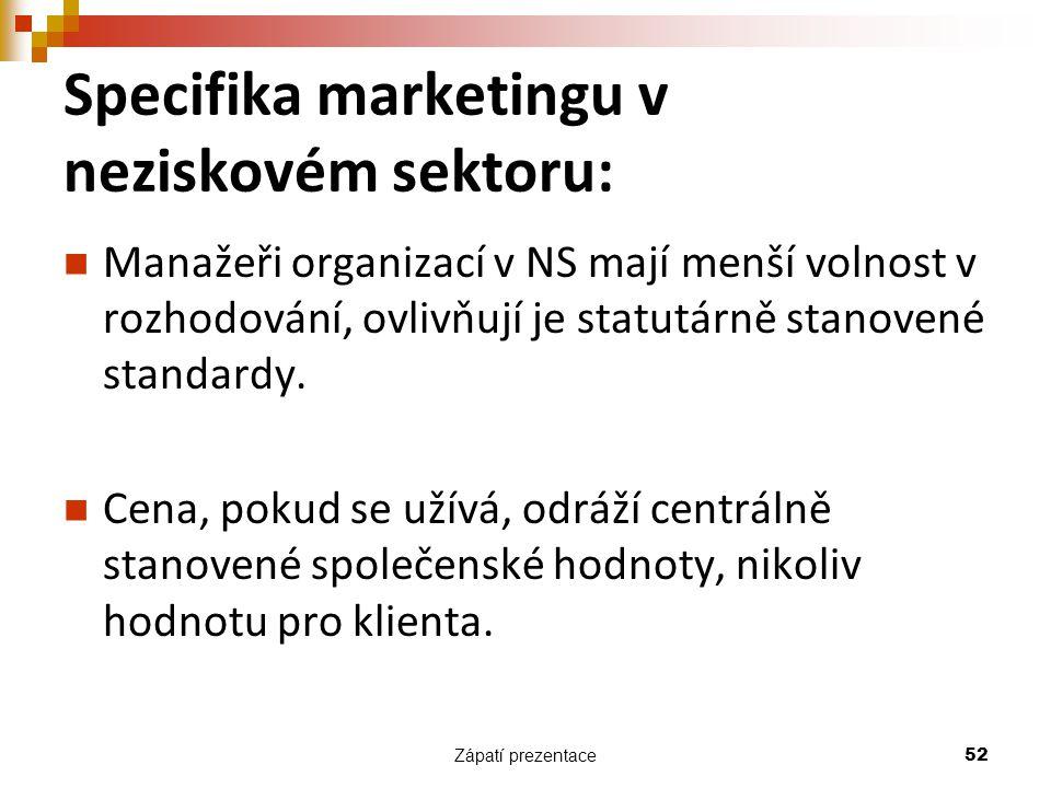 Zápatí prezentace 52 Specifika marketingu v neziskovém sektoru: Manažeři organizací v NS mají menší volnost v rozhodování, ovlivňují je statutárně sta