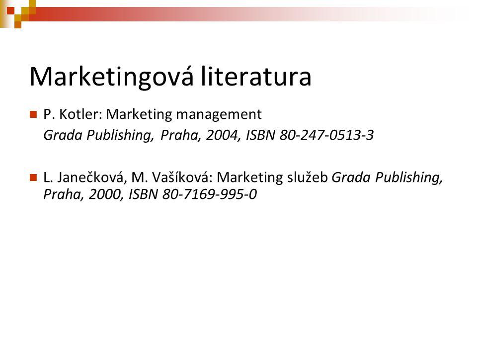 Marketingová literatura P. Kotler: Marketing management Grada Publishing, Praha, 2004, ISBN 80-247-0513-3 L. Janečková, M. Vašíková: Marketing služeb