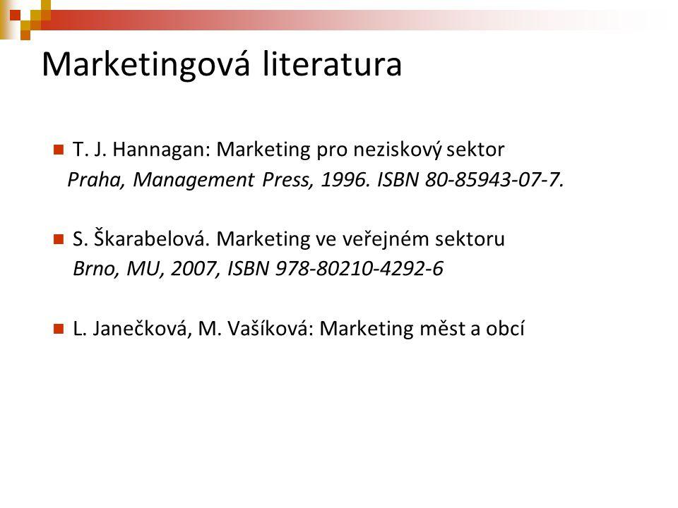 Marketingová literatura T. J. Hannagan: Marketing pro neziskový sektor Praha, Management Press, 1996. ISBN 80-85943-07-7. S. Škarabelová. Marketing ve