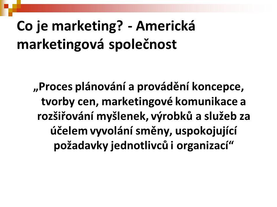 """Co je marketing? - Americká marketingová společnost """"Proces plánování a provádění koncepce, tvorby cen, marketingové komunikace a rozšiřování myšlenek"""