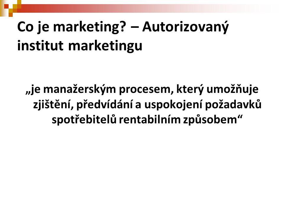 """Co je marketing? – Autorizovaný institut marketingu """"je manažerským procesem, který umožňuje zjištění, předvídání a uspokojení požadavků spotřebitelů"""