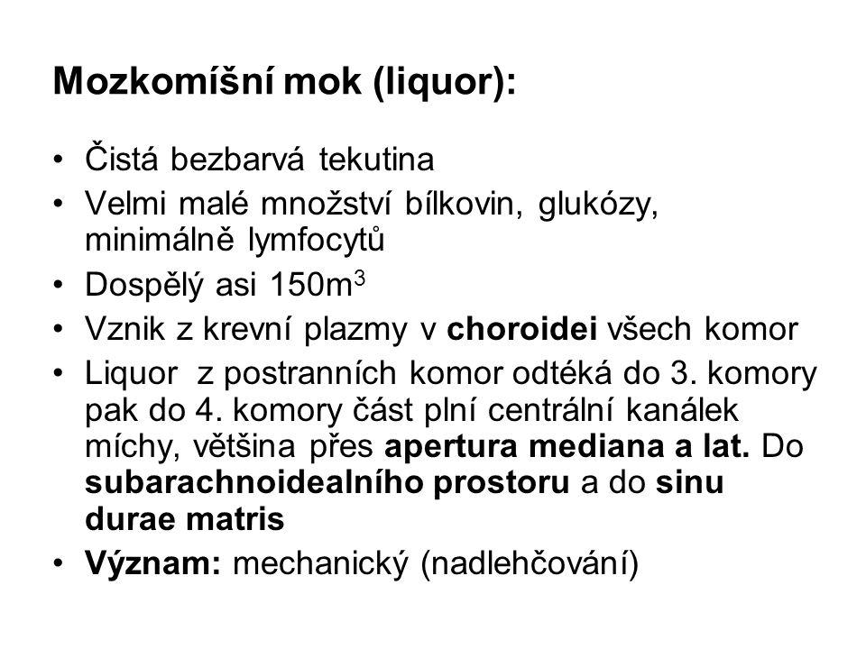 Mozkomíšní mok (liquor): Čistá bezbarvá tekutina Velmi malé množství bílkovin, glukózy, minimálně lymfocytů Dospělý asi 150m 3 Vznik z krevní plazmy v
