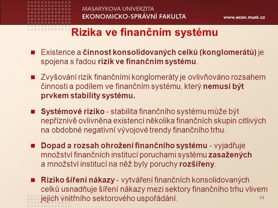 www.econ.muni.cz 13 Rizika ve finančním systému Existence a činnost konsolidovaných celků (konglomerátů) je spojena s řadou rizik ve finančním systému.