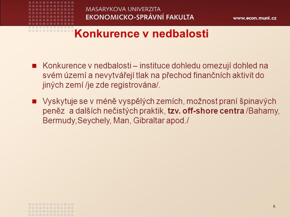 www.econ.muni.cz 6 Konkurence v nedbalosti Konkurence v nedbalosti – instituce dohledu omezují dohled na svém území a nevytvářejí tlak na přechod finančních aktivit do jiných zemí /je zde registrována/.