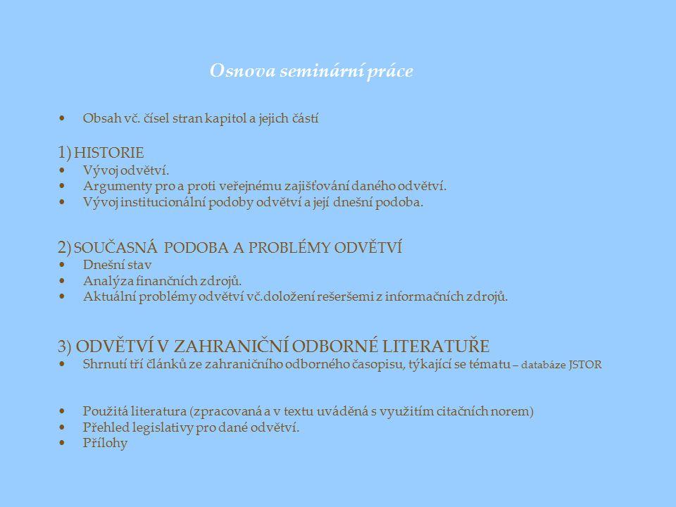 Osnova seminární práce Obsah vč.čísel stran kapitol a jejich částí 1) HISTORIE Vývoj odvětví.