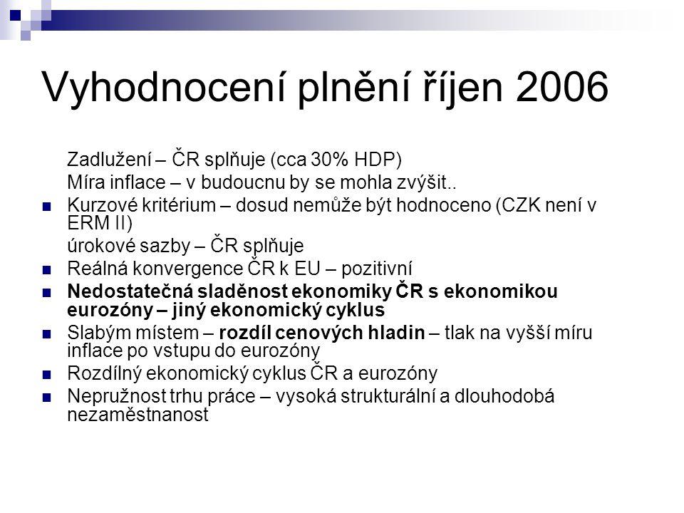 Vyhodnocení plnění říjen 2006 Zadlužení – ČR splňuje (cca 30% HDP) Míra inflace – v budoucnu by se mohla zvýšit.. Kurzové kritérium – dosud nemůže být
