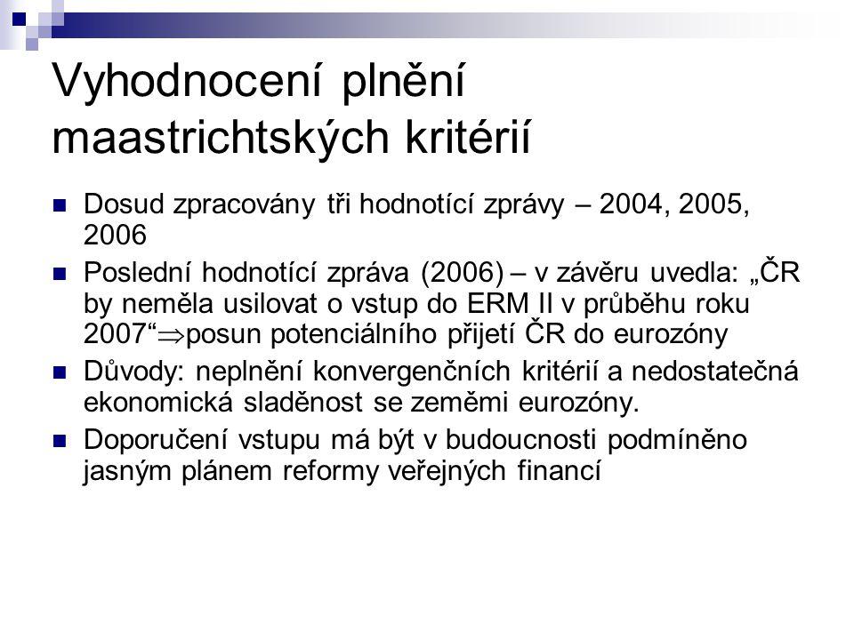 Vyhodnocení plnění maastrichtských kritérií Dosud zpracovány tři hodnotící zprávy – 2004, 2005, 2006 Poslední hodnotící zpráva (2006) – v závěru uvedl