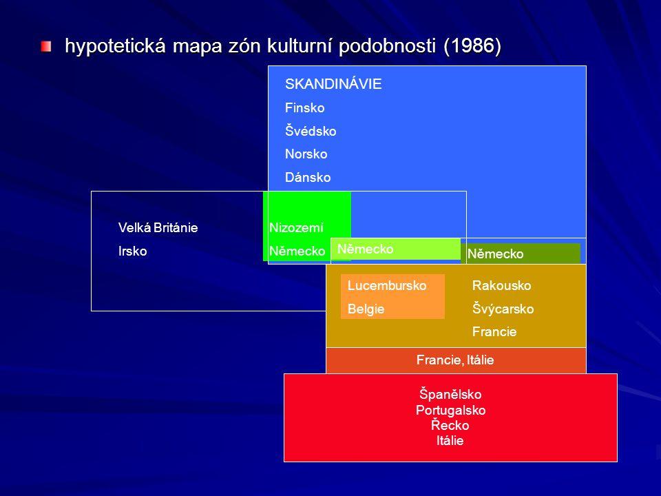 hypotetická mapa zón kulturní podobnosti (1986) Nizozemí Německo SKANDINÁVIE Finsko Švédsko Norsko Dánsko Německo Lucembursko Belgie Rakousko Švýcarsko Francie Francie, Itálie Španělsko Portugalsko Řecko Itálie Velká Británie Irsko