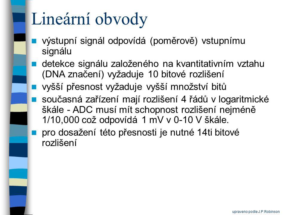 Lineární obvody výstupní signál odpovídá (poměrově) vstupnímu signálu detekce signálu založeného na kvantitativním vztahu (DNA značení) vyžaduje 10 bi