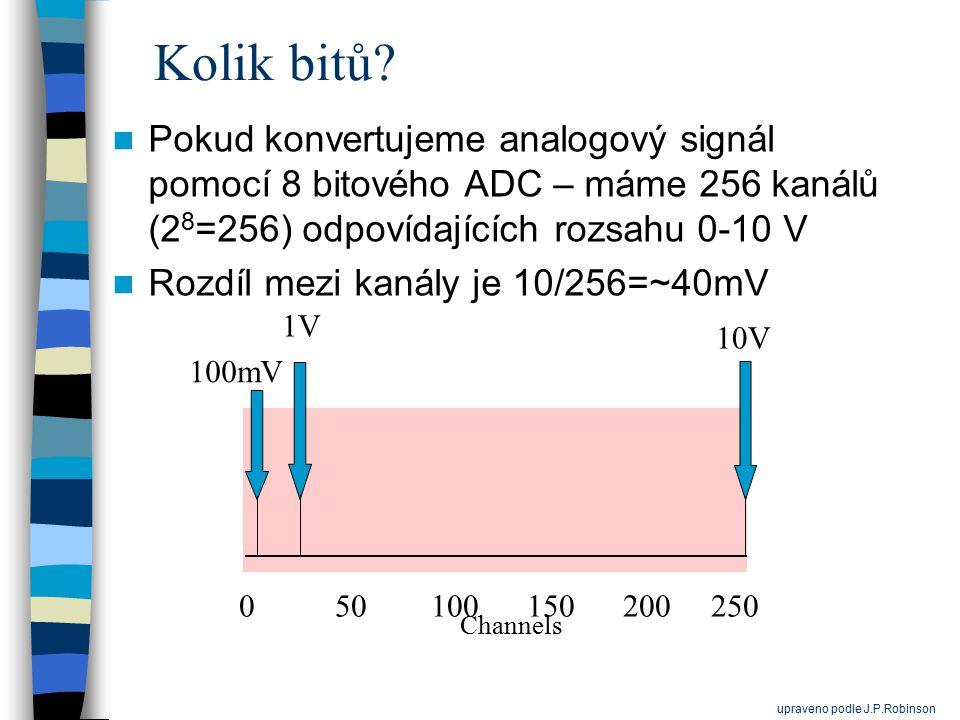 Kolik bitů? Pokud konvertujeme analogový signál pomocí 8 bitového ADC – máme 256 kanálů (2 8 =256) odpovídajících rozsahu 0-10 V Rozdíl mezi kanály je