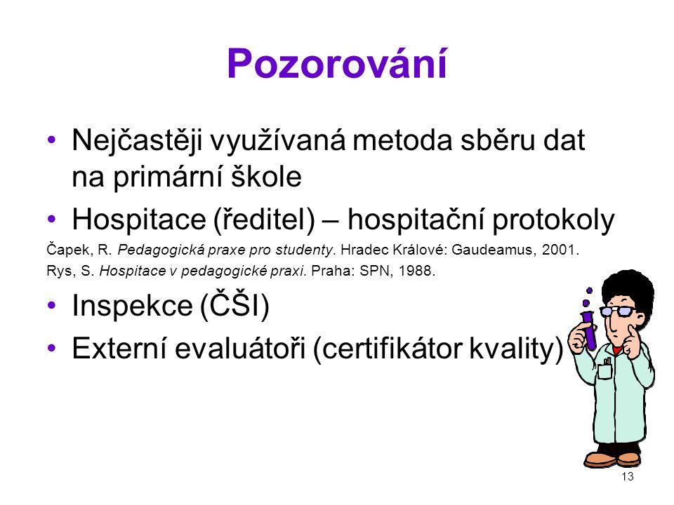 13 Pozorování Nejčastěji využívaná metoda sběru dat na primární škole Hospitace (ředitel) – hospitační protokoly Čapek, R.