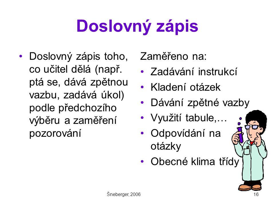 Šneberger, 200616 Doslovný zápis Doslovný zápis toho, co učitel dělá (např.