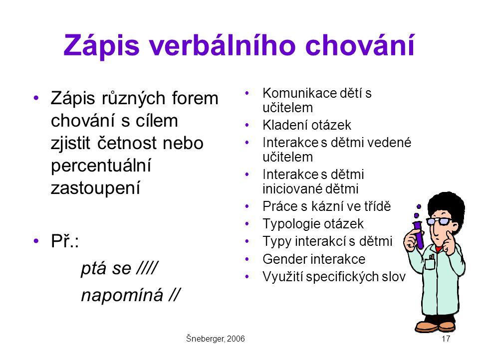 Šneberger, 200617 Zápis verbálního chování Zápis různých forem chování s cílem zjistit četnost nebo percentuální zastoupení Př.: ptá se //// napomíná // Komunikace dětí s učitelem Kladení otázek Interakce s dětmi vedené učitelem Interakce s dětmi iniciované dětmi Práce s kázní ve třídě Typologie otázek Typy interakcí s dětmi Gender interakce Využití specifických slov
