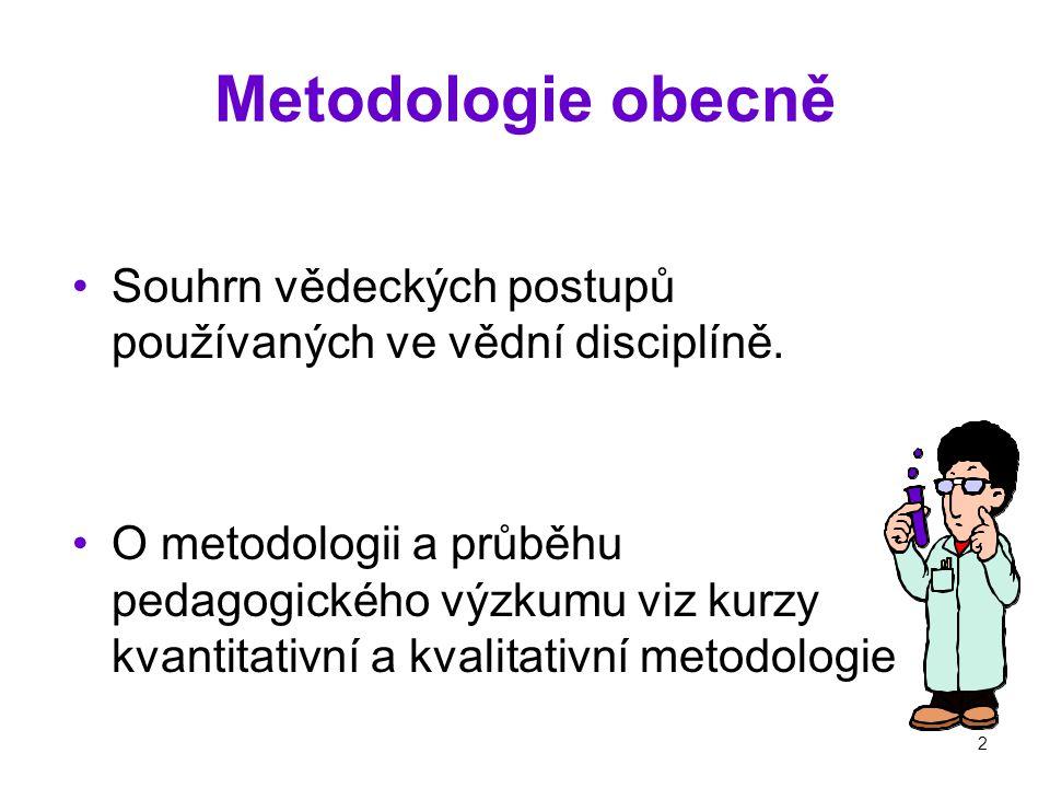 2 Metodologie obecně Souhrn vědeckých postupů používaných ve vědní disciplíně.