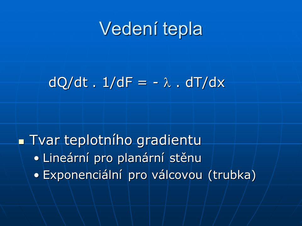 Vedení tepla dQ/dt. 1/dF = -. dT/dx Tvar teplotního gradientu Tvar teplotního gradientu Lineární pro planární stěnuLineární pro planární stěnu Exponen