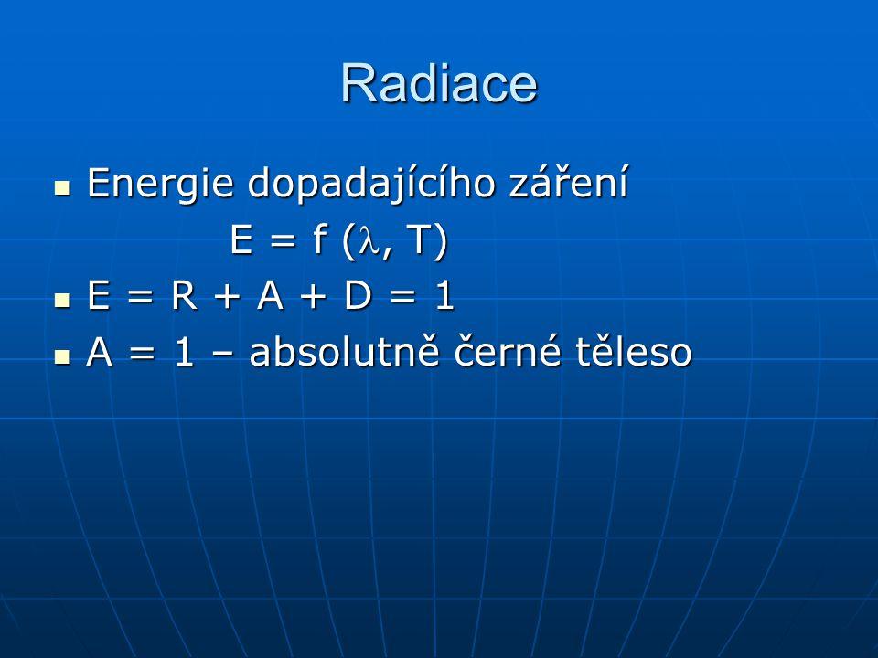 Radiace Energie dopadajícího záření Energie dopadajícího záření E = f (, T) E = R + A + D = 1 E = R + A + D = 1 A = 1 – absolutně černé těleso A = 1 – absolutně černé těleso