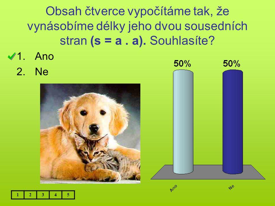 Obsah čtverce vypočítáme tak, že vynásobíme délky jeho dvou sousedních stran (s = a. a). Souhlasíte? 1.Ano 2.Ne 12345